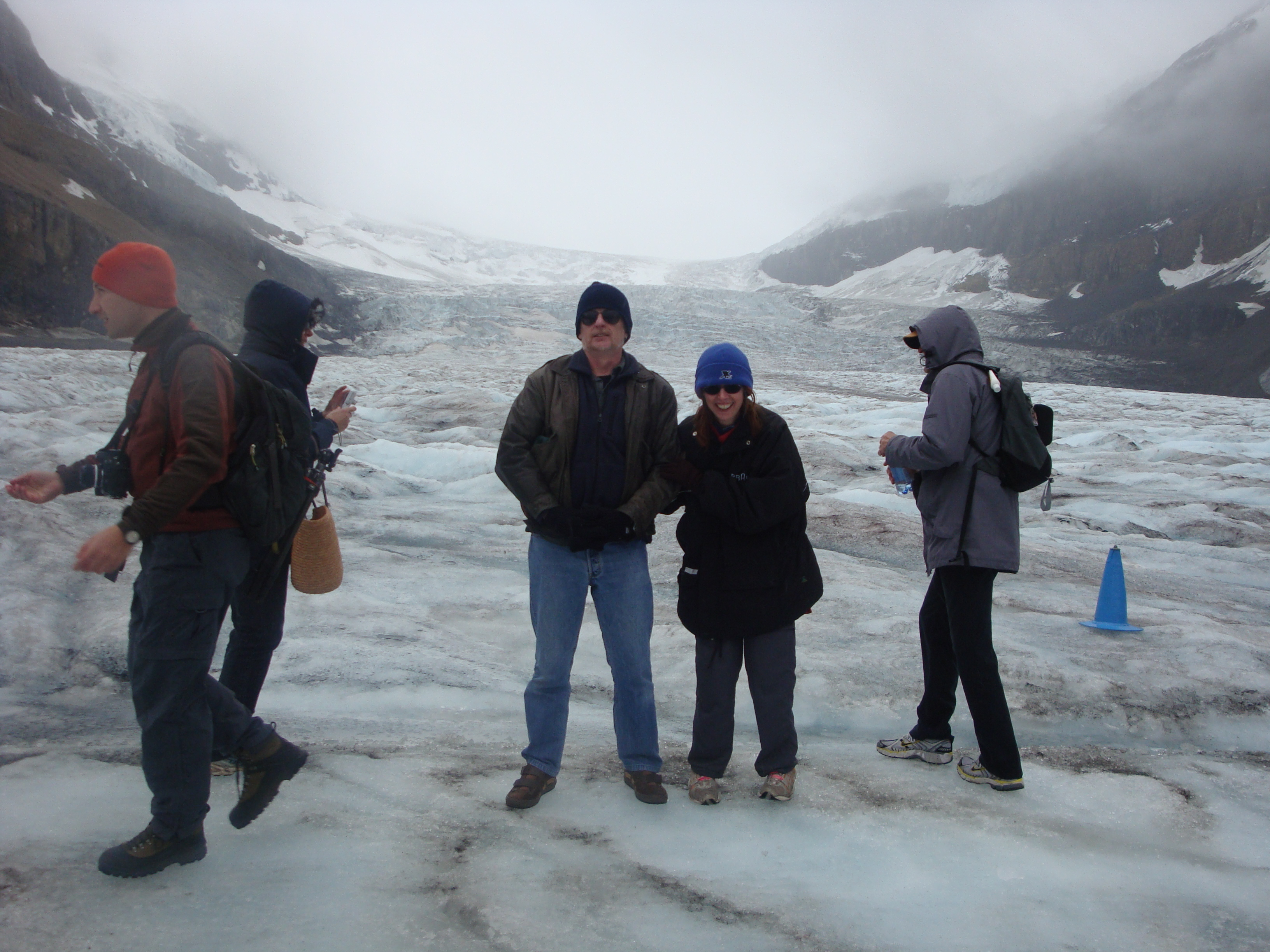 That's Terry and me at Lake Louise on the glacier....so....been places where you'd IMAGINE you'd see snow fall....but no....