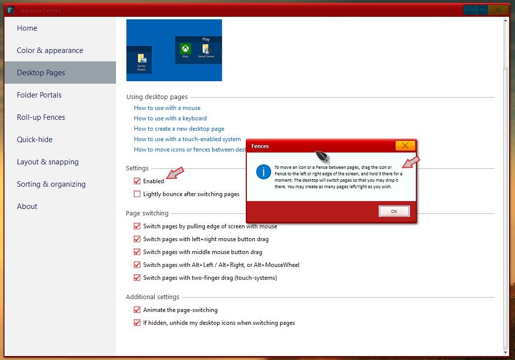 fences software how to go back to original desktop