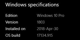Windows Specifications snip