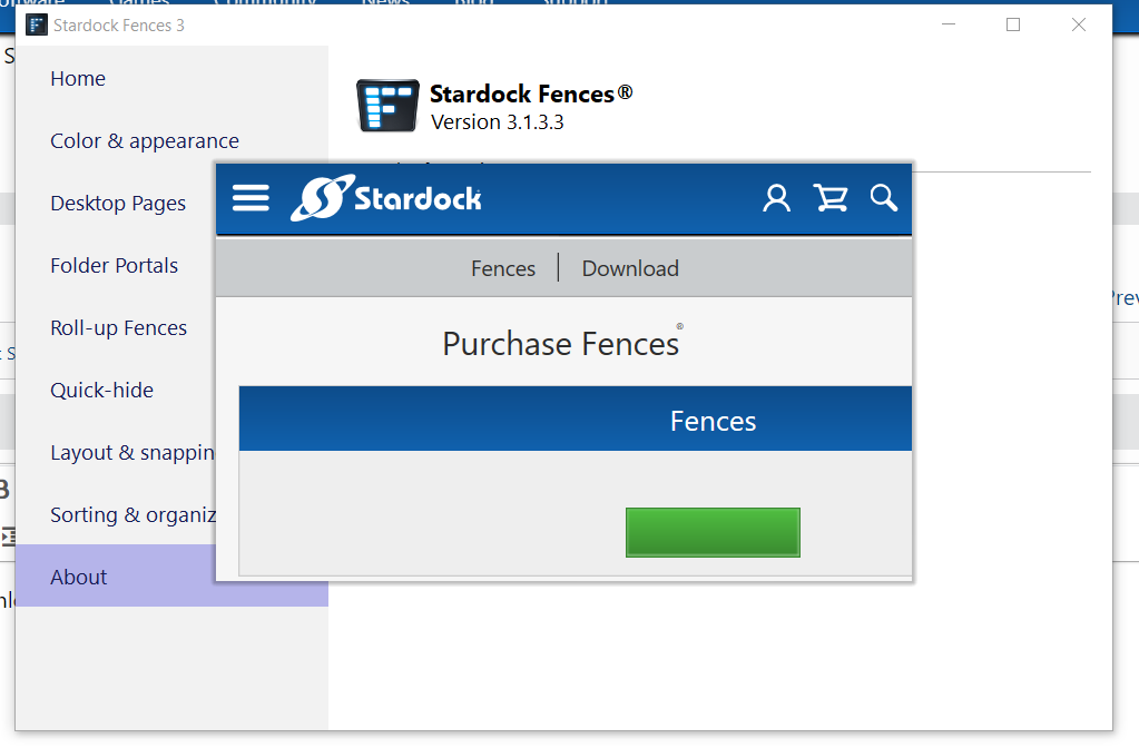 The button to purchase Fences does not work.