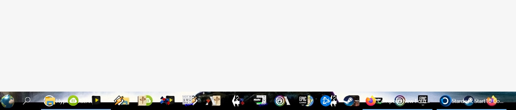 Picture of taskbar showing doubles