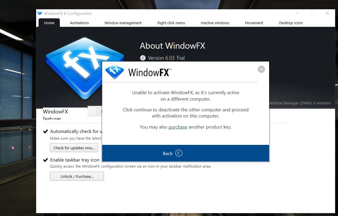 WindowFX error message