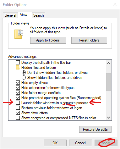 Launch folder windows in a separate process