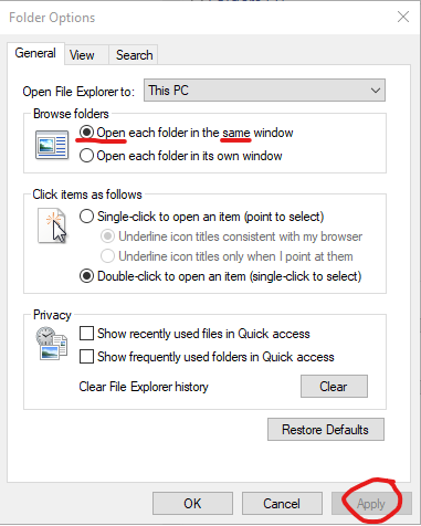 Open each folder in the same window