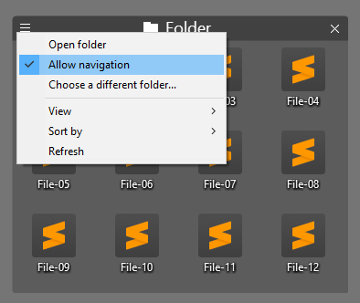 Allow Navigation in Folder Portal