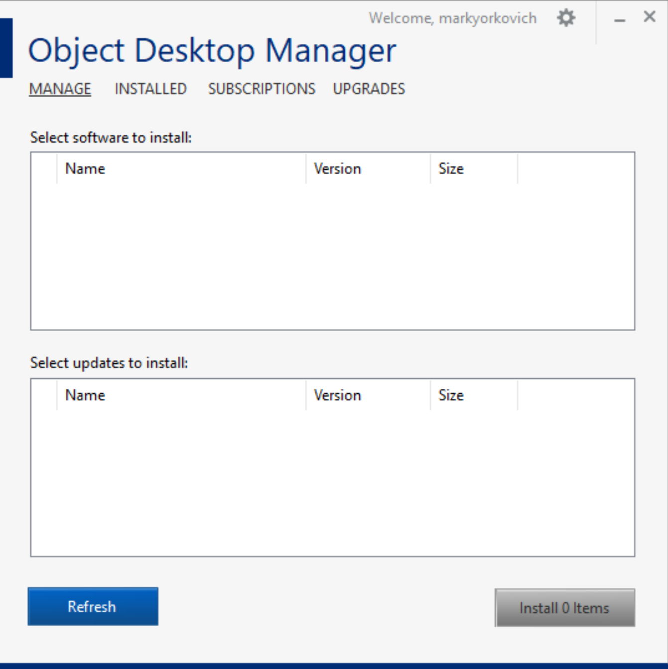 Object Desktop Manager main screen - nothing to install