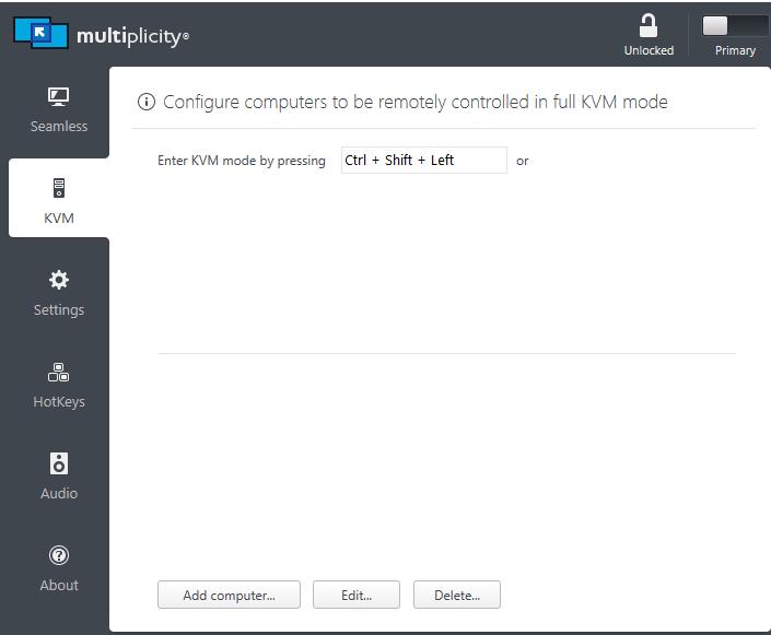 KVM sidebar option not shown.