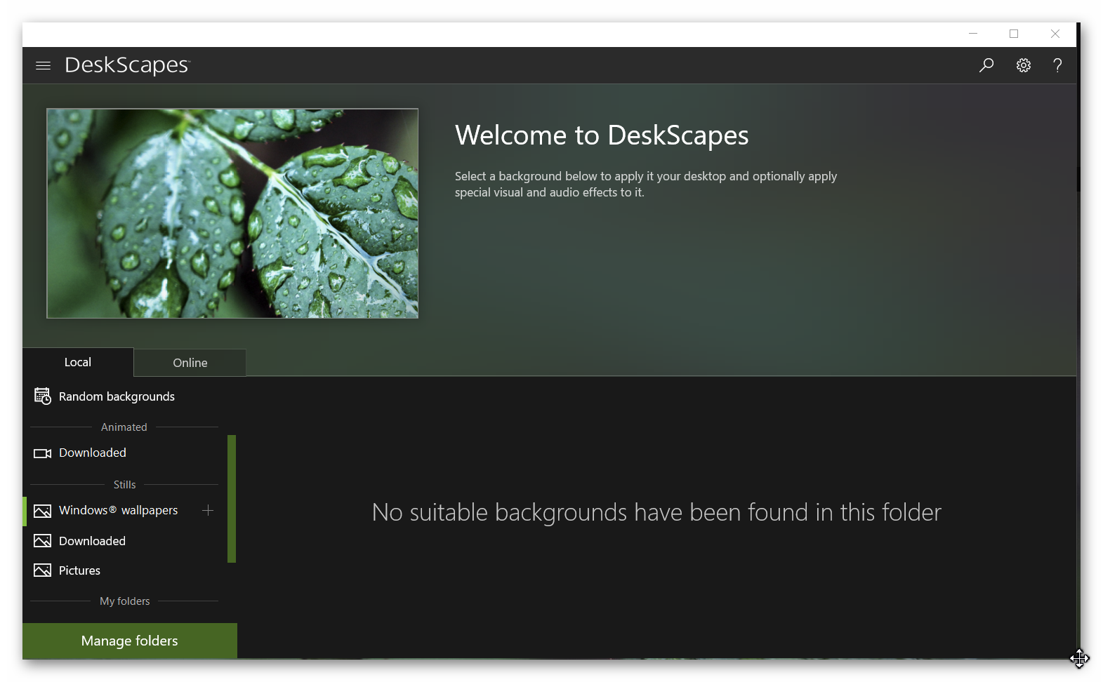 Deskscapes10 won't display windows backgrounds