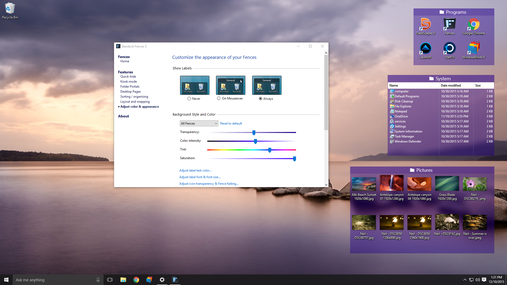 Stardock Fences: Organize your desktop shortcuts and icons